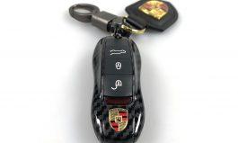保時捷類碳纖維鑰匙殼含編織皮革鑰匙圈